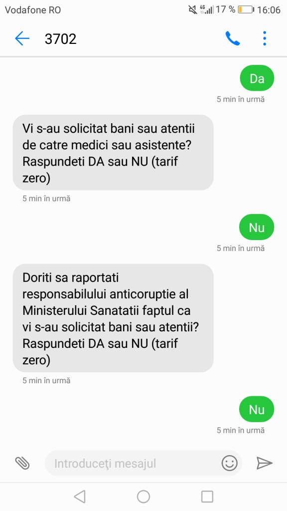 sms feedback sanatate