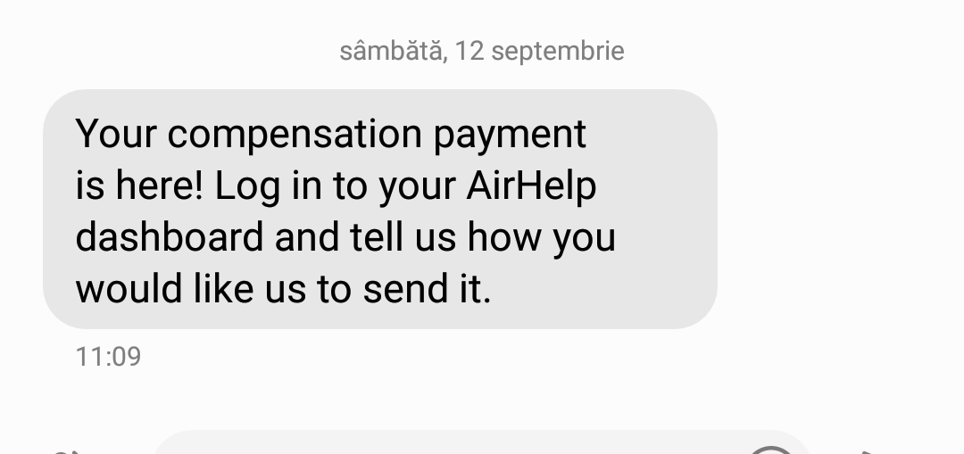 sms payment airhelp